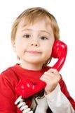 Kleiner Junge am Telefon Lizenzfreie Stockfotografie