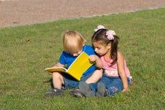 Kleiner Junge und das Mädchen auf einer Lichtung im Park lasen Lizenzfreies Stockbild