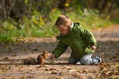 Kleiner Junge und Eichhörnchen Stockfotografie
