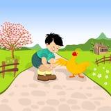 Kleiner Junge und Ente Lizenzfreie Stockfotos