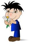 Kleiner Junge und Gänseblümchen Stockbilder