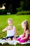 Kleiner Junge und Mädchen mit Marienkäfer im Park stockfotografie