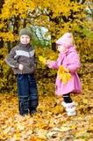 Kleiner Junge und Mädchen spielen in einem Park im Herbst Lizenzfreies Stockfoto