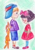 Kleiner Junge und Mädchen Stockfoto