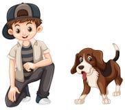 Kleiner Junge und netter Spürhundhund Lizenzfreie Stockbilder