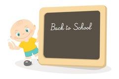 Kleiner Junge und Schuletafel Stockbilder