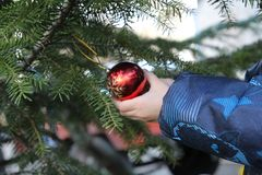 Kleiner Junge verziert Weihnachtsbaum lizenzfreies stockbild