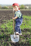 Kleiner Junge, zum auf Feld zu graben stockfoto