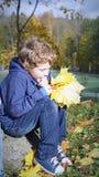 Kleiner kaukasischer Junge sitzt auf einem großen Stein im Herbstpark, der seine Backen mit seinen Händen stützt, die Blumenstrau lizenzfreie stockbilder
