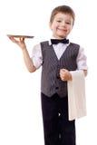 Kleiner Kellner mit Tellersegment und Tuch Stockfoto