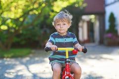 Kleiner Kleinkindjunge von 3 Jahren Spaß auf seinem Fahrrad habend Stockbilder