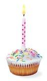 Kleiner Kuchen mit einer Geburtstagskerze Lizenzfreies Stockbild