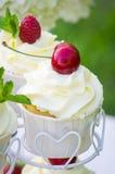 Kleiner Kuchen mit einer Kirsche Lizenzfreie Stockbilder