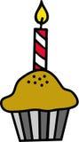 Kleiner Kuchen mit Kerze Stockfotografie