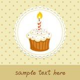 Kleiner Kuchen mit Kerze Lizenzfreie Stockbilder