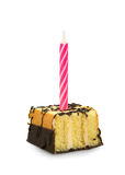 Kleiner Kuchen mit Kerze Stockbilder