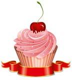 Kleiner Kuchen mit Kirsche stock abbildung
