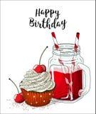 Kleiner Kuchen mit weißer Creme und Kirsche und Glasgefäß mit rotem Getränk und Stroh auf weißem Hintergrund, Illustration lizenzfreie abbildung