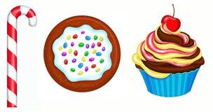 Kleiner Kuchen, Plätzchen, Zuckerstange Stockfotos