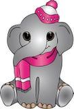 Kleiner lächelnder Babyelefant in der Kappe Stockbilder