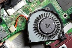 Kleiner Laptop-Computer Fan und Leiterplatte. Lizenzfreie Stockfotografie