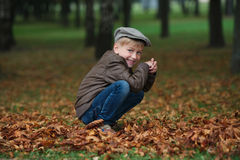 Kleiner lustiger Junge im Herbstlaubporträt Lizenzfreies Stockbild