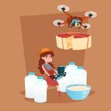 Kleiner Mädchen-Griff-Fernprüfer-Drone Delivery Milk-Milchprodukte Eco neue Landwirtschaft vektor abbildung