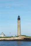 Kleiner Manan Island-Leuchtturm im Golf von Maine, ist es der zweite höchste Lichtmast in Maine. Stockfotos