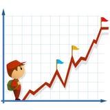 Kleiner Mann der Karikatur mit Tasche und infographic Lizenzfreie Stockfotografie