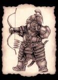 Kleiner mongolischer Bogenschütze stock abbildung