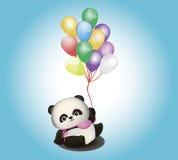 Kleiner Panda mit Ballonen Stockfotografie