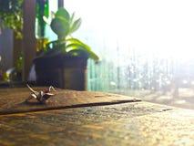 Kleiner Papierkranorigami in einem Café Stockfotografie