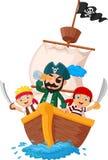 Kleiner Pirat der Karikatur surfte den Ozean stock abbildung
