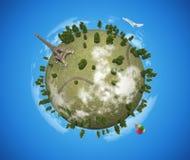 Kleiner Planet mit Eiffelturm Stockfotografie