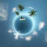 Kleiner Planet mit Insel Stockfoto