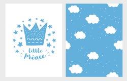 Kleiner Prinz Hand gezeichneter Babyparty-Vektor Illustriations-Satz Blaue Krone, Sterne und Buchstaben auf einem weißen Hintergr vektor abbildung