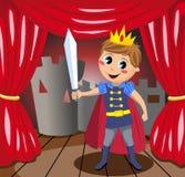 Kleiner Prinz Holding Sword auf Stadium Stockfotos