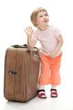 Kleiner Reisender, der für eine Reise sich vorbereitet Lizenzfreies Stockbild