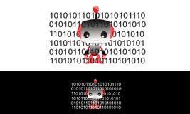 Kleiner Roboter-und Stückchen-Code Stockfoto