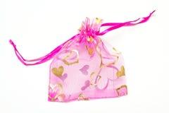 Kleiner rosafarbener Beutel für Geschenke Stockbilder