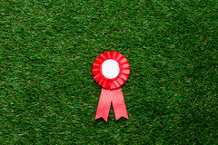 Kleiner roter Siegerpreis auf grünem Sommergrasrasen Lizenzfreies Stockbild