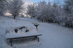 Kleiner Schneemann auf einer Parkbank bei Winterberg Lizenzfreie Stockfotografie