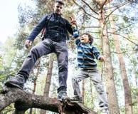 Kleiner Sohn mit dem Vater, der zusammen auf Baum im Wald, Lebensstilleutekonzept, glückliche lächelnde Familie auf Sommer klette Stockbilder