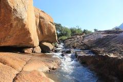 Kleiner Strom des Wassers im Kiefern-Tal außerhalb Mbabanes in Swasiland stockbild