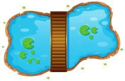 Kleiner Teich mit einer Brücke lizenzfreie abbildung