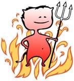 Kleiner Teufel mit Flammen im Hintergrund - Halloween Lizenzfreie Stockfotos
