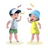 Kleiner verärgerter Kinderstreit lizenzfreie stockfotografie