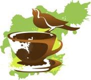 Kleiner Vogel auf einem Tasse Kaffee stock abbildung