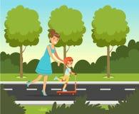 Kleiner Vorschuljunge, der Spaß mit ihrer Mutter im Sommerpark draußen, Familienfreizeit-Vektorillustration hat Stockfotos
