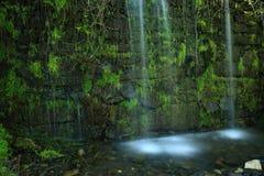 Kleiner Wasserfall auf Wand Stockfoto